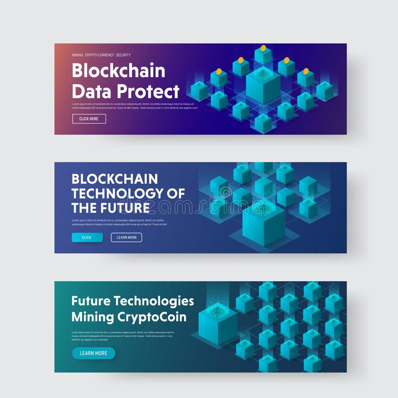 Set of horizontal web banners with isometric illustration of a b stock illustration