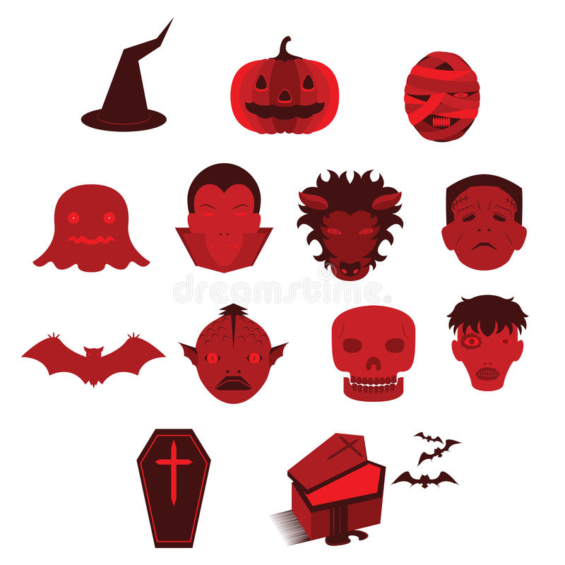 Set of Horror Ghost Monster and Halloween Vectors and Icons. Set of Many Horror Ghost Monster and Halloween Vectors and Icons vector illustration