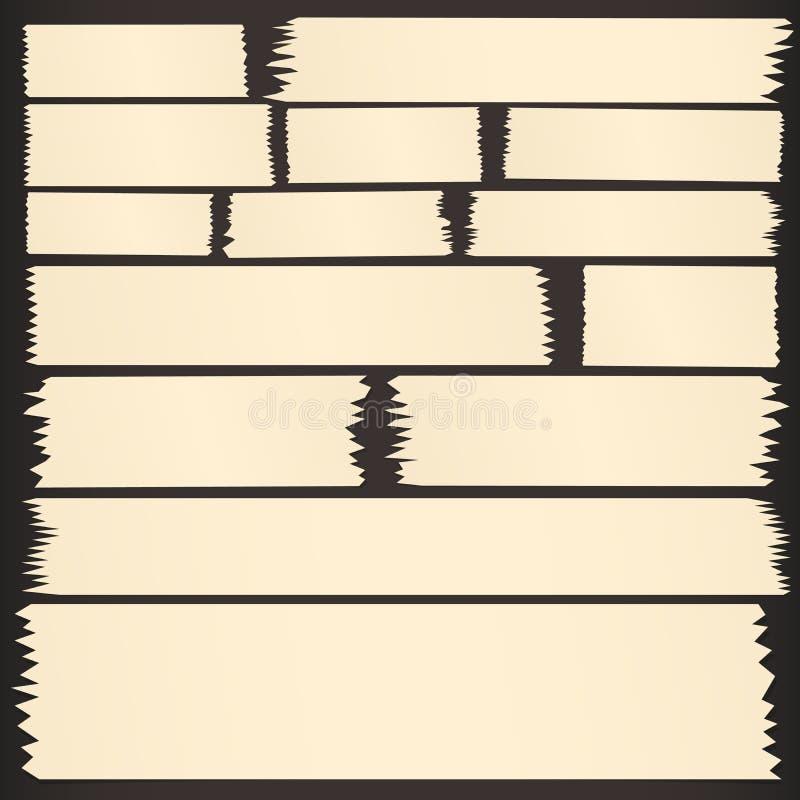Set horyzontalna i różna wielkościowa kleista taśma, adhezyjni kawałki na czarnym tle ilustracja wektor