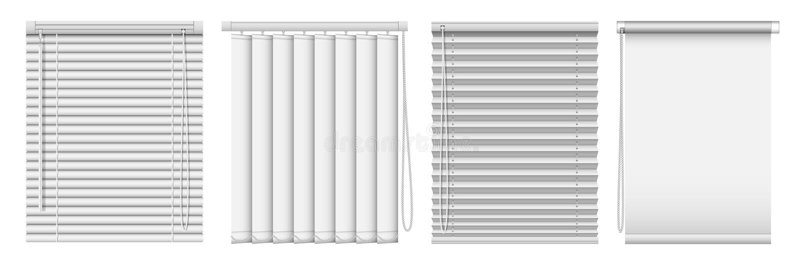 Set horyzontalne i pionowo nadokienne story Wektorowe realistyczne ilustracyjne horyzontalne niewidome zasłony zdjęcie stock