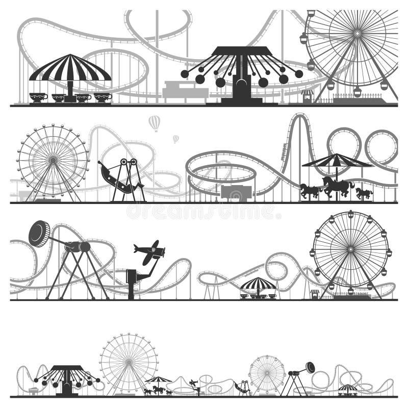 Set horyzontalne park rozrywki sylwetki Wektorowe ilustracje kolejki górskie ilustracja wektor