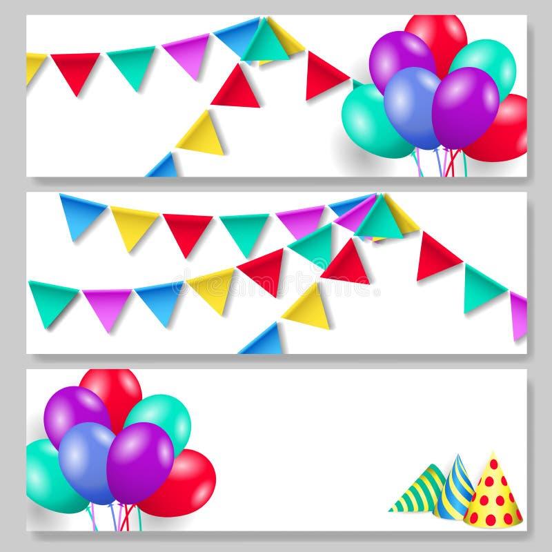 Set horyzontalni świąteczni sztandary Przyjęcie urodzinowe kapelusze, chorągiewek flagi i balony, royalty ilustracja