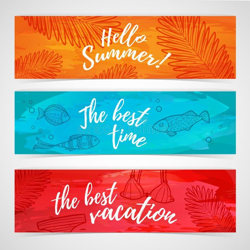 Set horyzontalni lato sztandary z ryba, liść, swimsuit ilustracja wektor