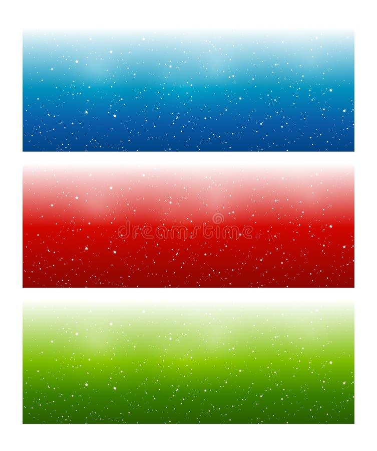 Set horyzontalni panoramiczni sztandary z błyszczącymi gwiazdami dla Twój magicznego projekta ilustracja wektor