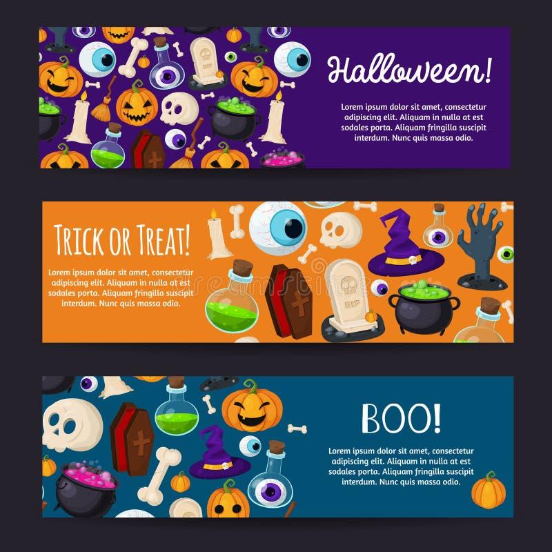 Set Horyzontalni Szczęśliwi Halloweenowi sztandary ilustracji