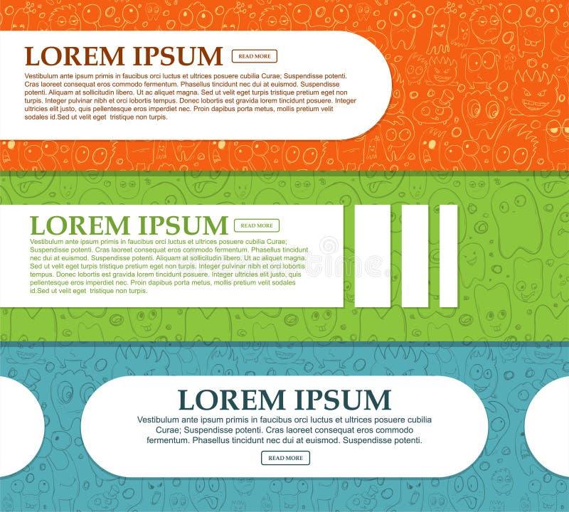Set horyzontalni sztandary z śmiesznymi potworami i miejsce dla twój teksta ilustracji
