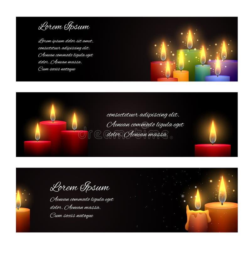 Set horyzontalni sztandary z świeczkami royalty ilustracja