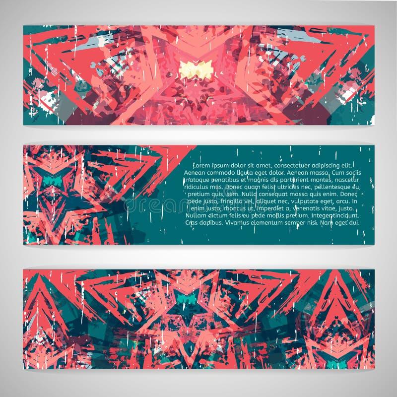 Download Set Horyzontalni Sztandary Z Abstraktem, Etniczny Ilustracja Wektor - Ilustracja złożonej z grafika, tło: 57656861