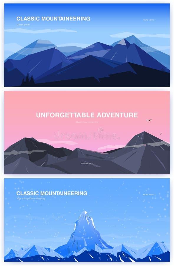Set horyzontalny tło z górami mountaineering pojęcie z miejscem dla teksta Sztandar w kreskówce, mieszkanie styl royalty ilustracja