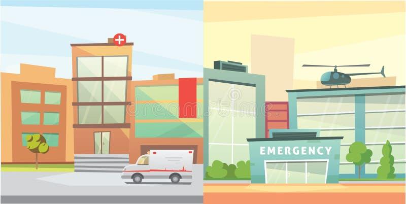 Set Hospital building cartoon modern vector illustration. Medical Clinic and city background. Emergency room exterior. stock illustration