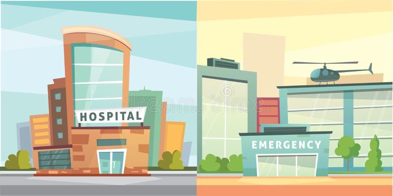 Set Hospital building cartoon modern vector illustration. Medical Clinic and city background. Emergency room exterior. royalty free illustration