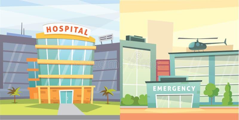 Set Hospital building cartoon modern vector illustration. Medical Clinic and city background. Emergency room exterior. vector illustration