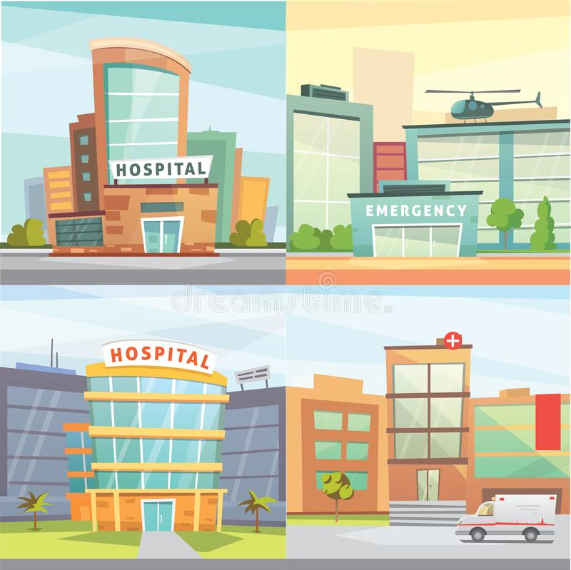 Set Hospital building cartoon modern vector illustration. royalty free illustration