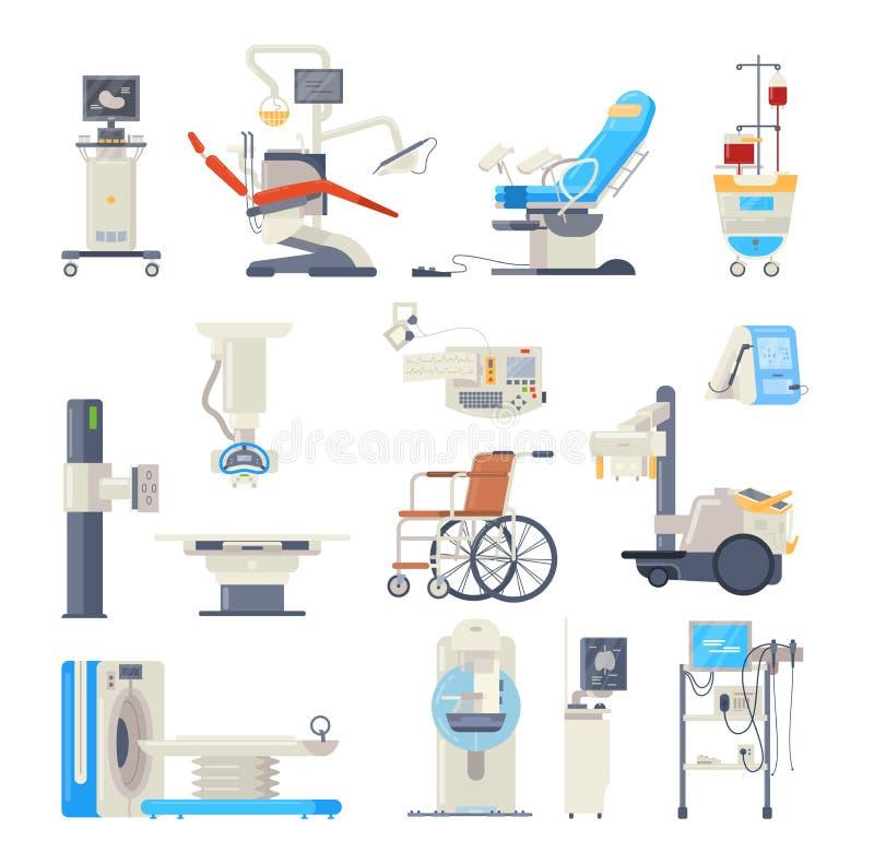 Set of hospital medical equipment. Medical devices. Health system, monitoring. stock illustration