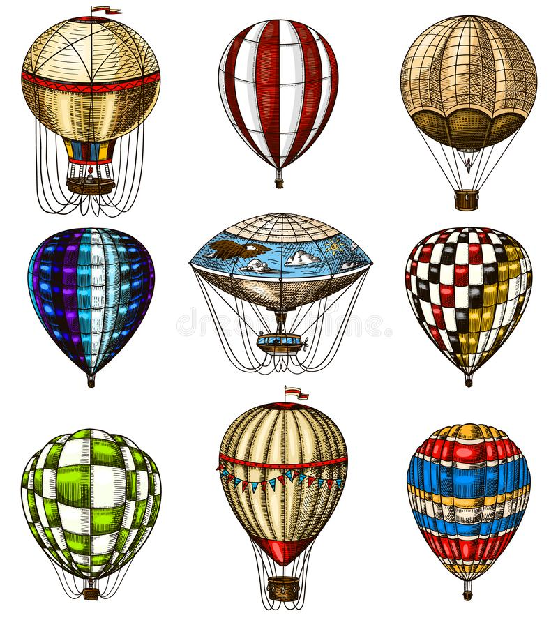 Set of Hot Air Balloons. Vector retro flying airships with decorative elements. Template transport for Romantic logo vector illustration
