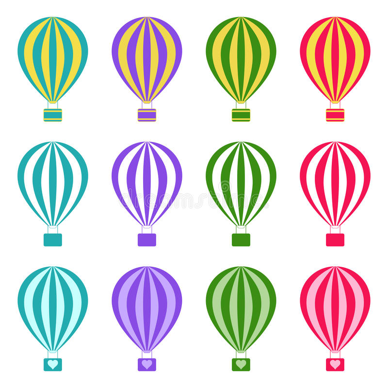 Set of hot air balloons on white background, illustration. Collection of hot air balloons on white background, illustration stock illustration