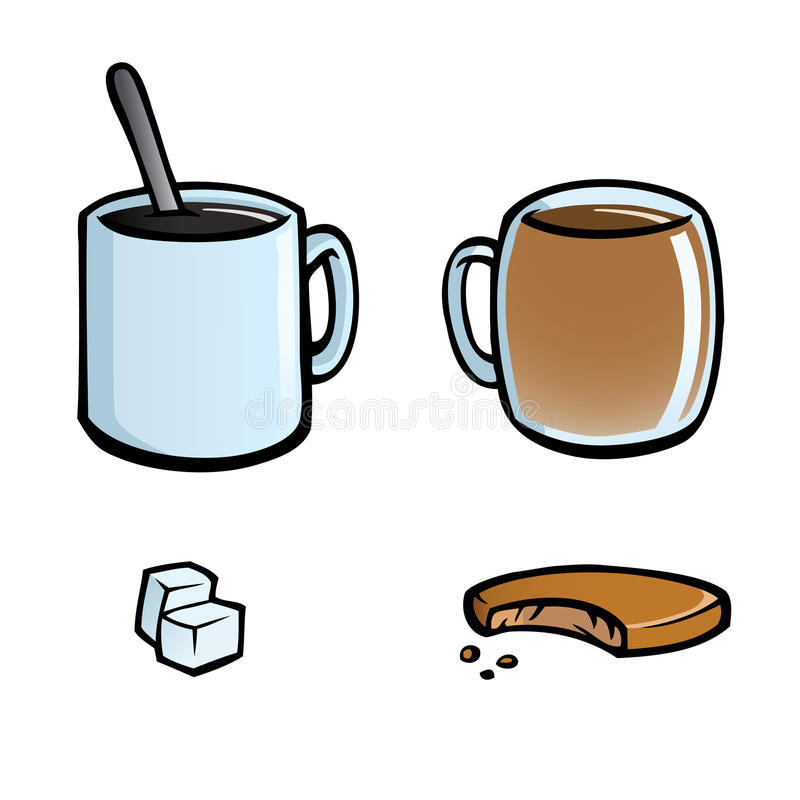 Set of hot drinks icons. Icon set with cups of coffee and tea, sugar cubes and cookie vector illustration