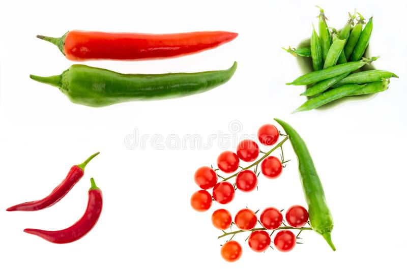 Set of hot peppers large pod parallel green green chile set peas pod branch of cherry tomatoes culinary collage on white stock image