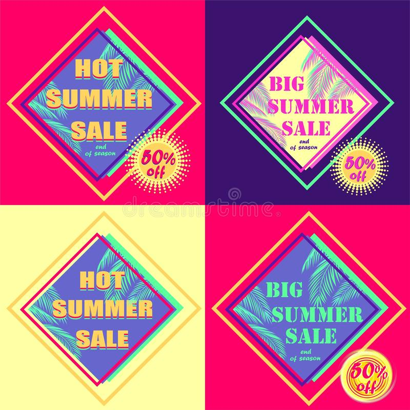 Set of hot pink and violet discount tags for summer sale with mint color palm leaves and offer yellow labels vector illustration