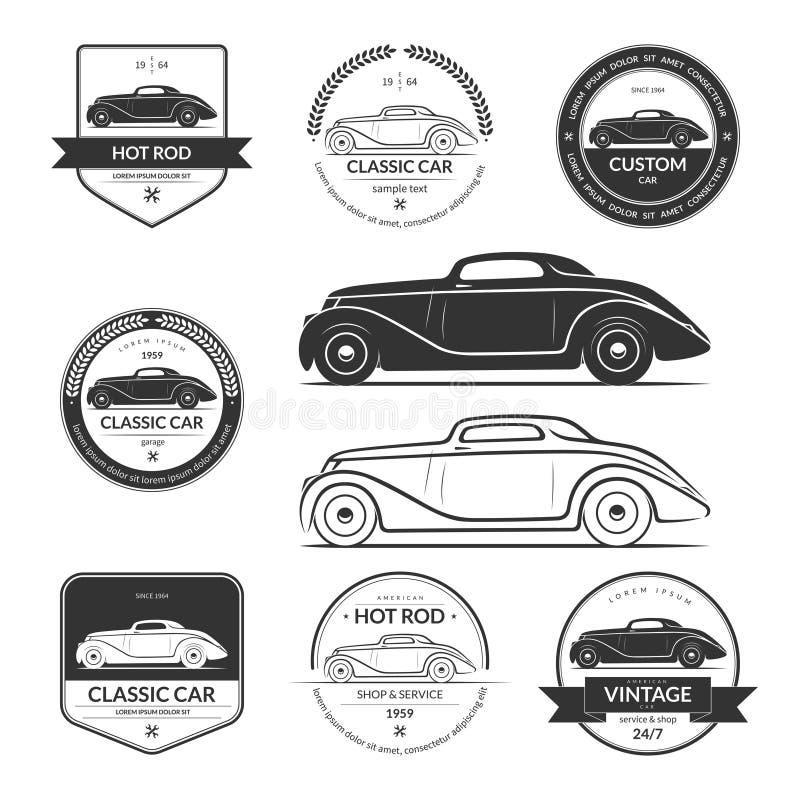 Set of hot rod car labels, emblems, logos stock illustration