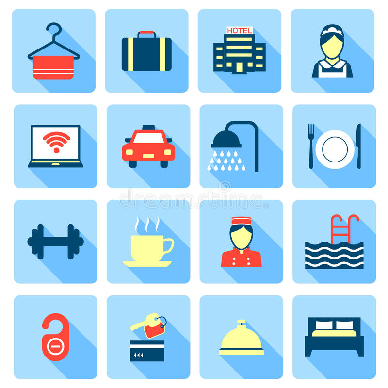Set of hotel icons. Set of hotel bed reception bath bed bell icons on colorful squares in flat color style vector illustration royalty free illustration