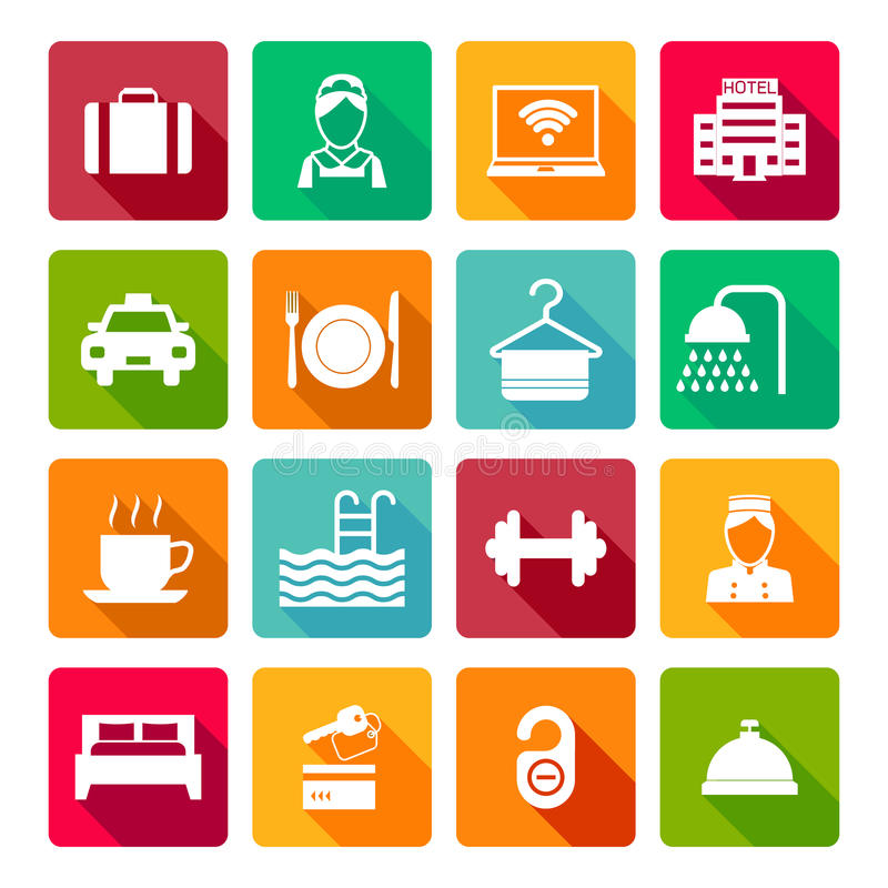 Set of hotel icons. Set of hotel bed reception bath bed bell icons on colorful squares in white color vector illustration stock illustration