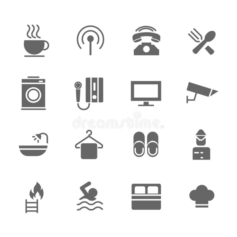 Set of Hotel Vector Icons. Includes coffee, breakfast, washing, telephone and more. Set of Hotel Vector Icons. Includes coffee, breakfast, washing, telephone royalty free illustration