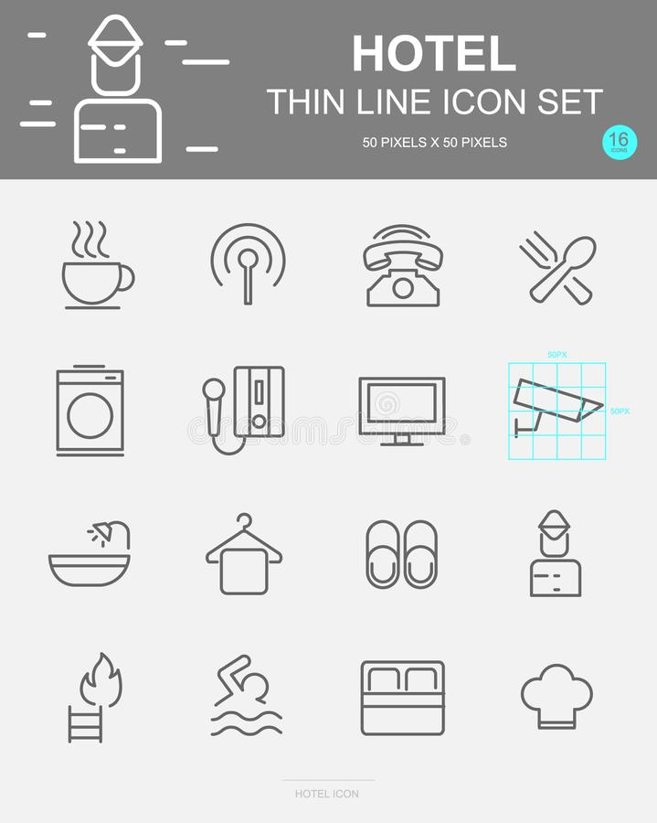 Set of Hotel Vector Line Icons. Includes coffee, breakfast, washing, telephone and more. 50 x 50 Pixel. Set of Hotel Vector Line Icons. Includes coffee stock illustration