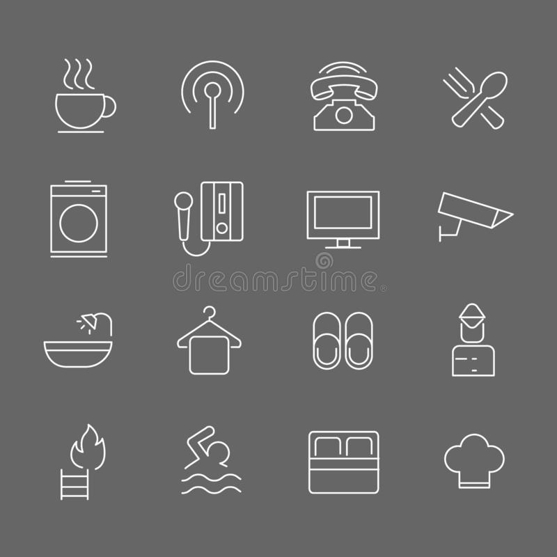 Set of Hotel Vector Line Icons. Includes coffee, breakfast, washing, telephone and more. In gray background royalty free illustration