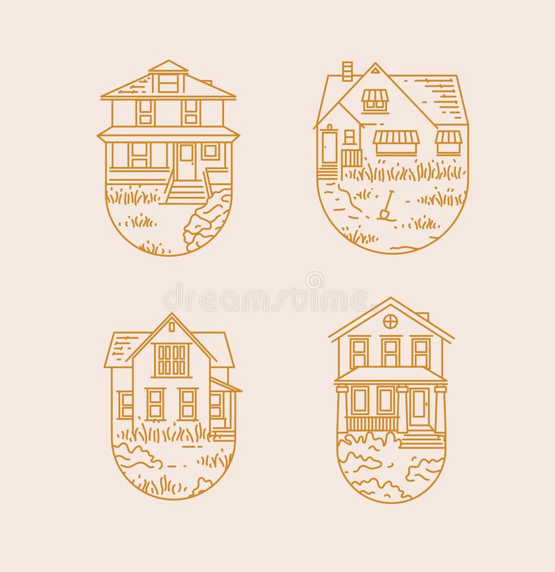 Set house badges flat. Set of house badges different forms drawing in flat style with gold lines on beige on white background stock illustration
