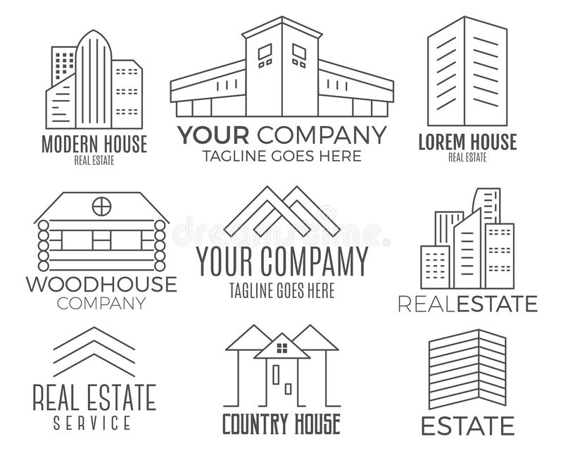 Set of house logo designs, real estate icon suitable for info graphics, websites and print media. , flat icon, badges royalty free illustration