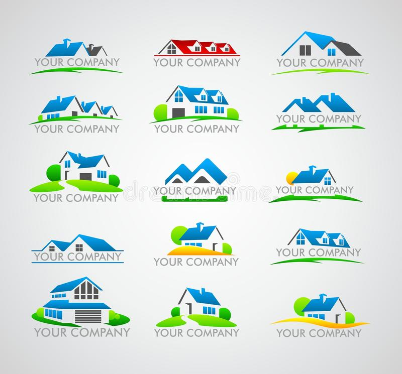 Set of house logo. House for sale, logo for firm, company trademark