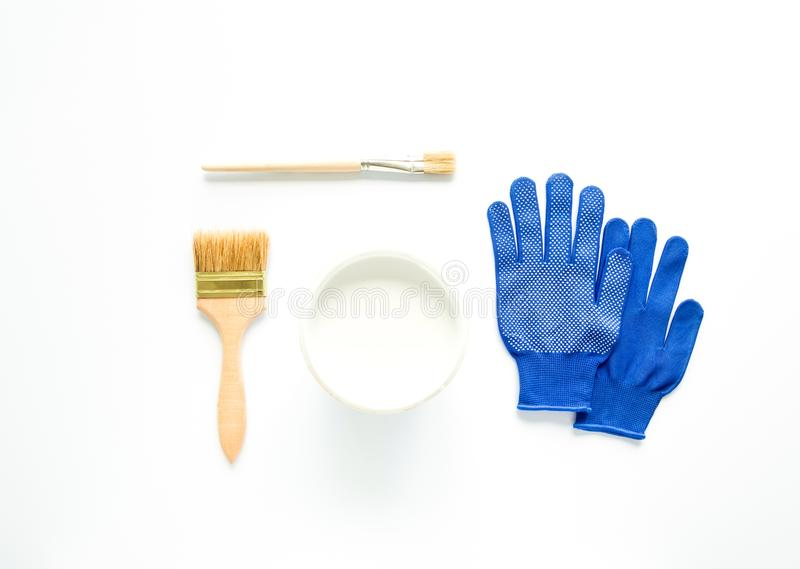 Set of house repair constructing and painting equipment on white background. Flat lay. Set of house repair constructing and painting equipment on white royalty free stock photos