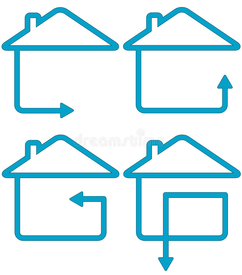Set house silhouette and move arrow royalty free illustration