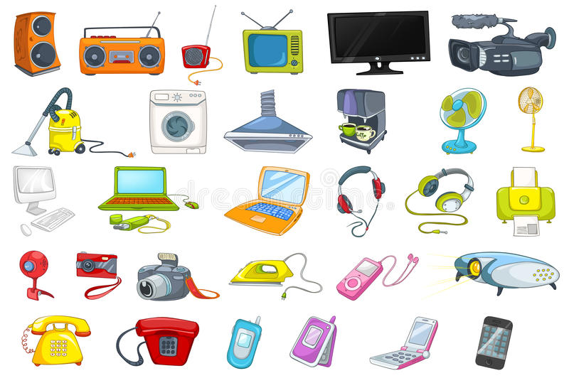 Set of household appliances and electronic devices vector illustration