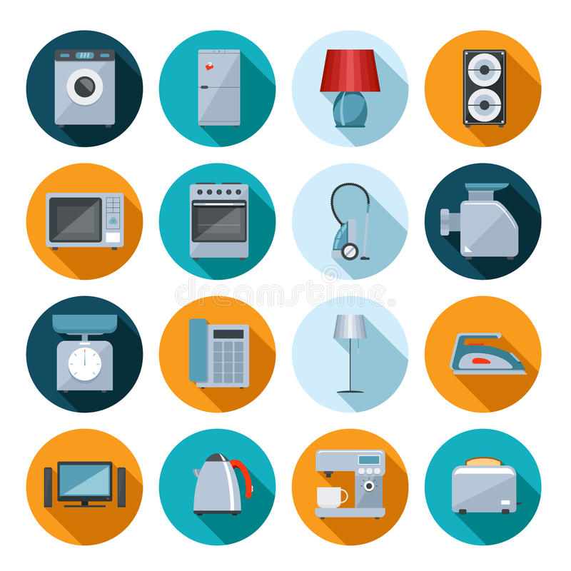 Set of household appliances flat icons vector illustration
