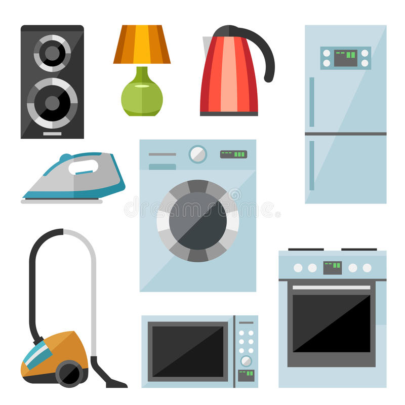 Set of household appliances flat icons royalty free illustration