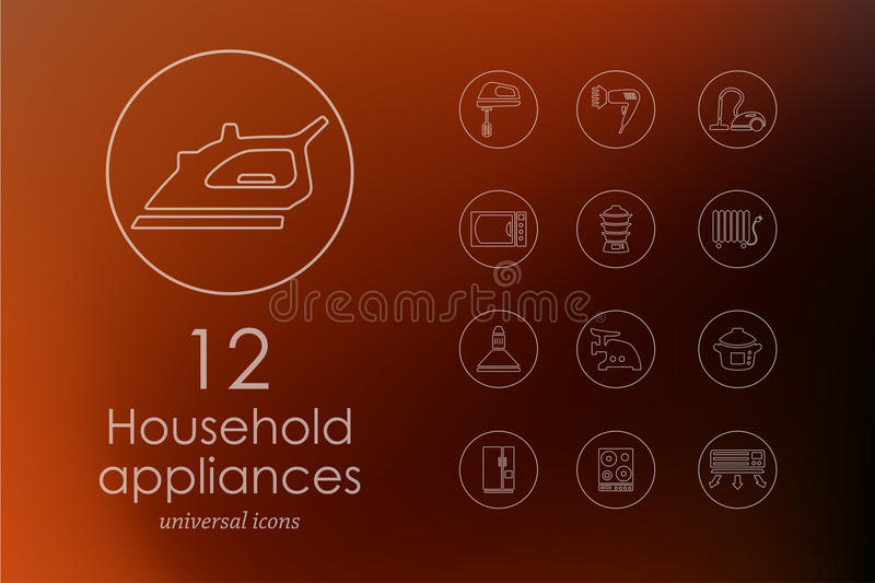 Set of household appliances icons stock illustration