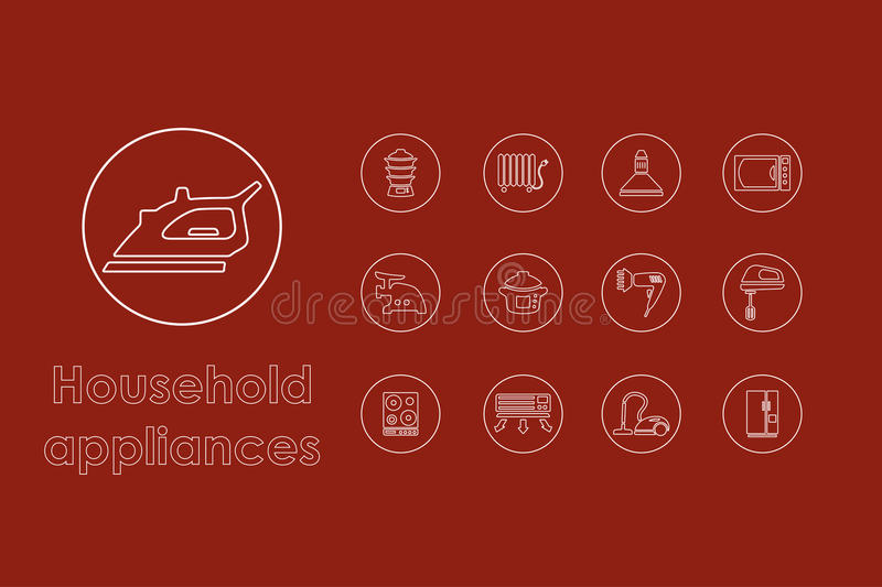 Set of household appliances simple icons vector illustration