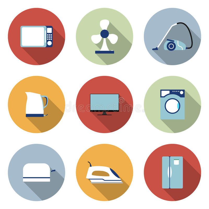 Set of household appliances vector icons royalty free illustration