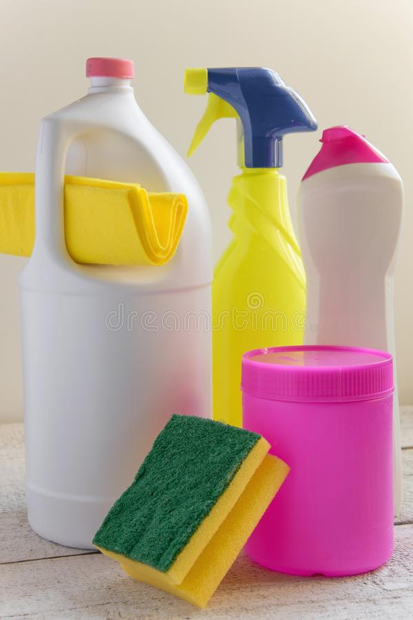 Set of household cleaning products. Spring cleaning concept royalty free stock photography