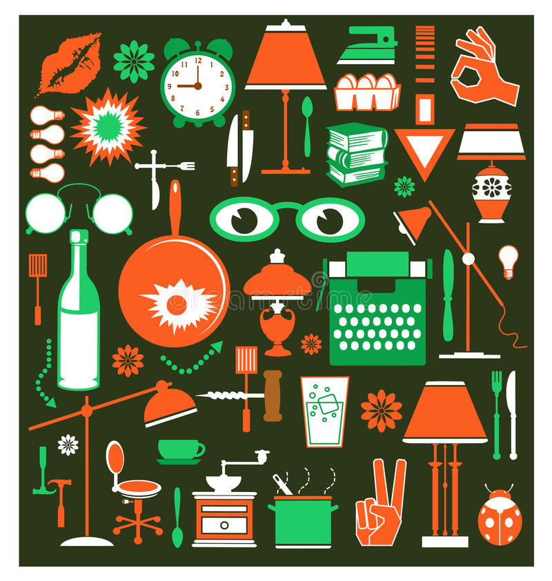 Download A set of household items stock vector. Image of dining - 22197108