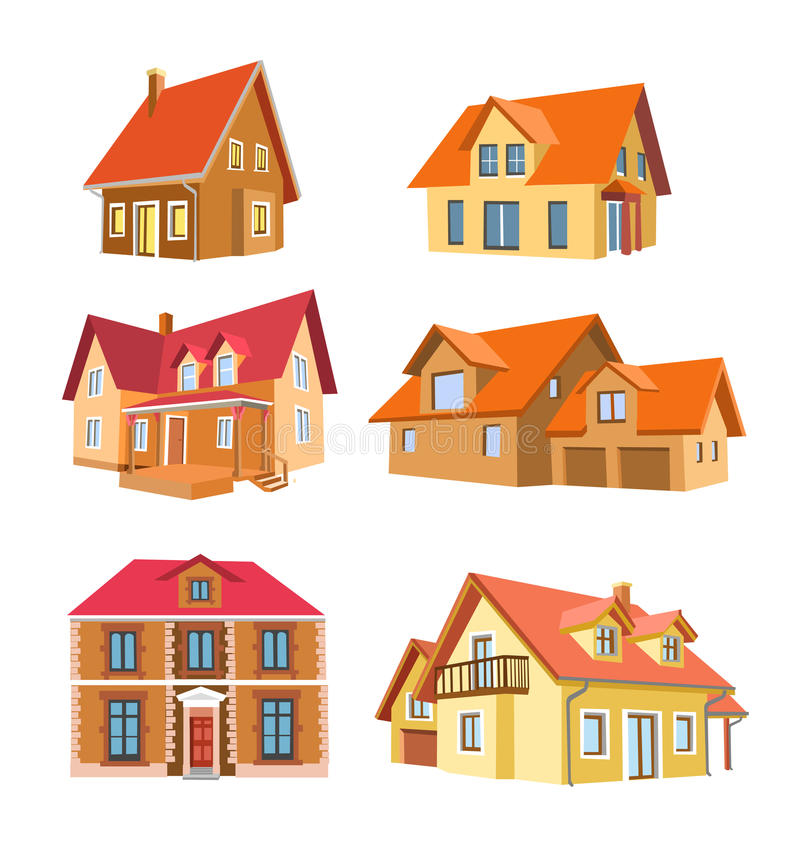 Download Set of houses stock vector. Image of house, roof, architecture - 11539061