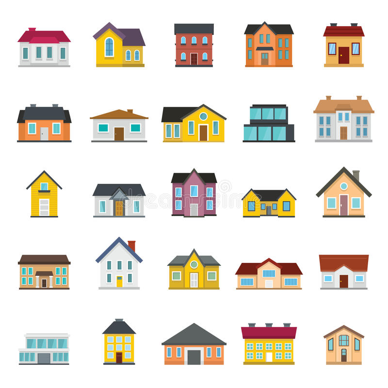 Set houses, buildings, and architecture variations in flat style stock illustration