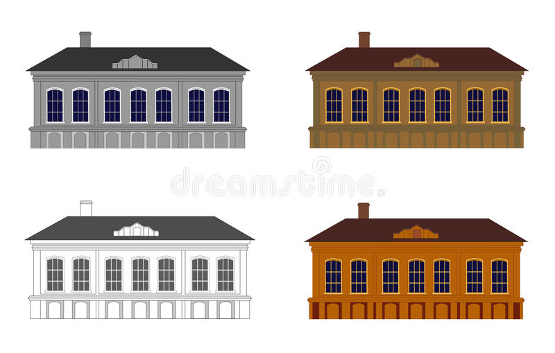 Set of houses in different colours. On a white background. Building in style of classicism. Isolated. Vector illustration. Horizontal location vector illustration