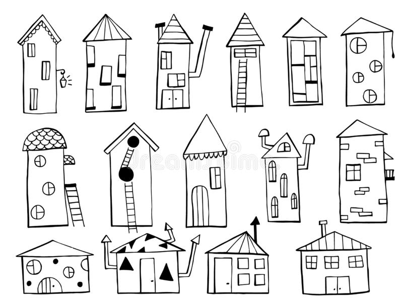 Set of houses. Doodles hand drawn sketchy objects. royalty free illustration