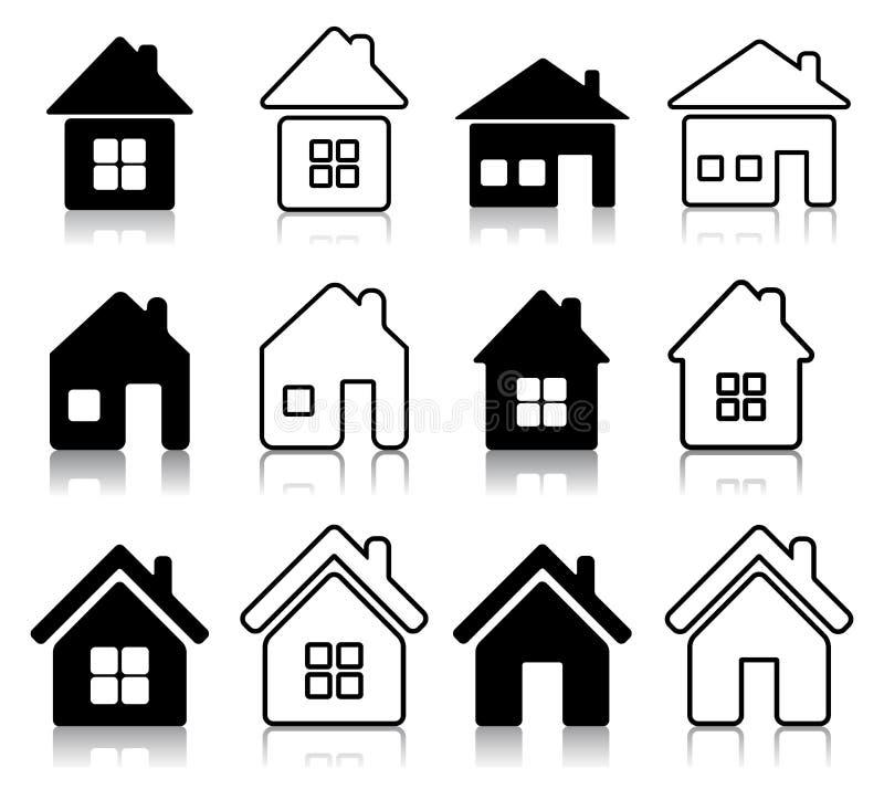 Set of houses icon stock illustration