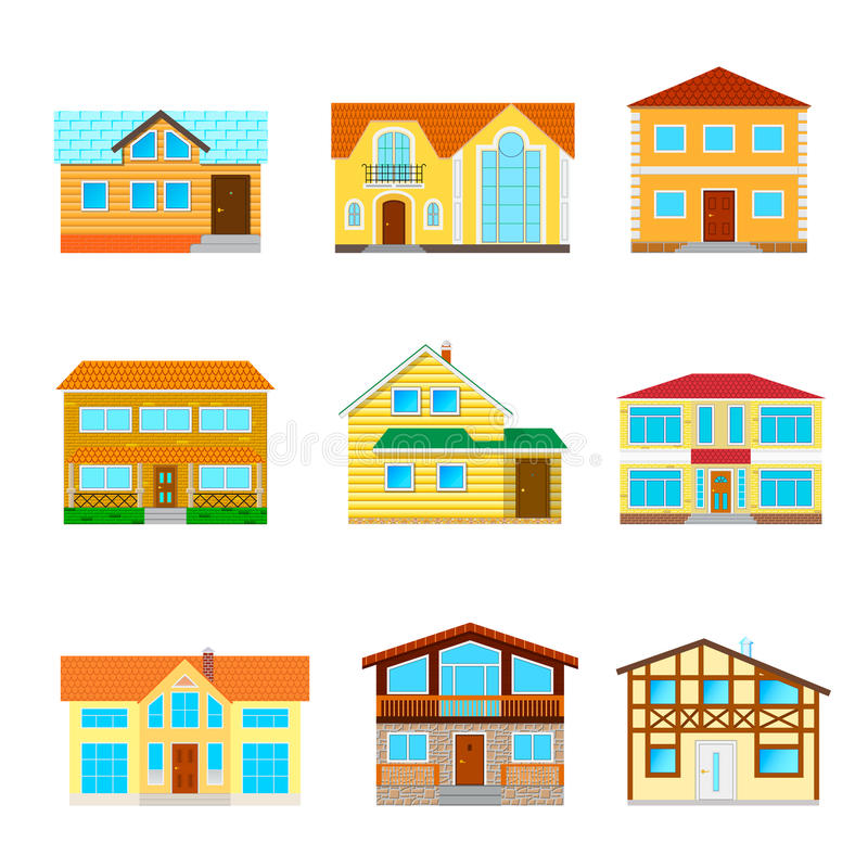 A set of houses isolated royalty free illustration
