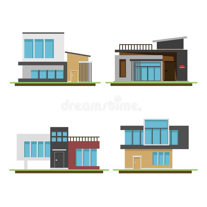 Set of houses and modern houses, Modern building and architecture royalty free illustration