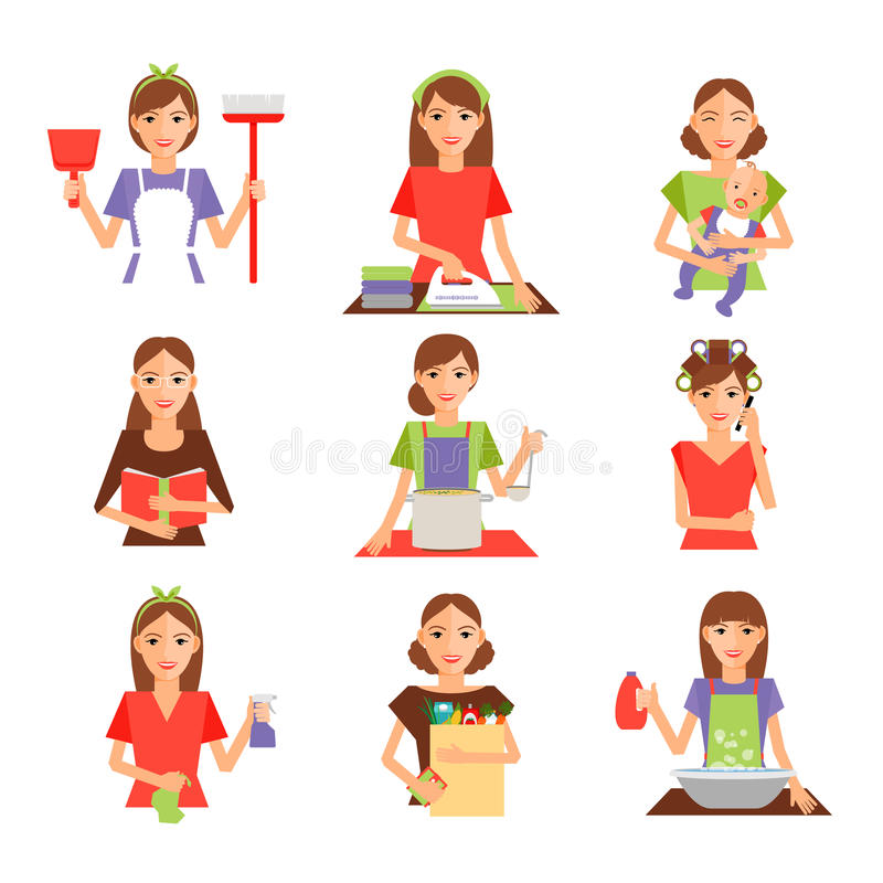 Set of housewife icon in flat style. Homemaker cleaning ironing cook wash and shopping. Vector illustration royalty free illustration